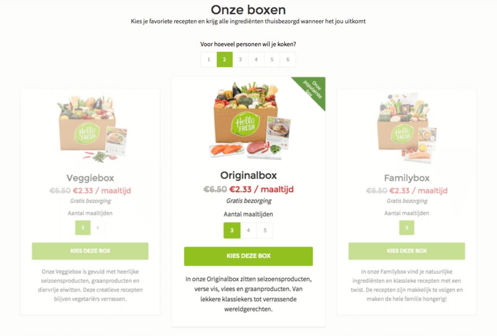 kies de hellofresh box die je wilt bestellen
