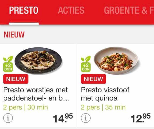 maaltijden uit de presto box