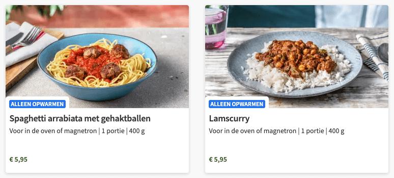 voorbeelden hellofresh kant en klaar maaltijden